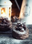 Chocolate-nuts pies with Christmas tree