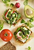 Sandwiches with black forest ham, brie and rocket pesto
